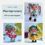 handmade. Livemaster - original item A set of three mk on flower dolls - Daffodil, Tulip, Willow, hook. Handmade.