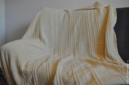 """Текстиль, ковры ручной работы. Ярмарка Мастеров - ручная работа. Купить плед """"Гернси"""". Handmade. Белый, подарок на свадьбу"""