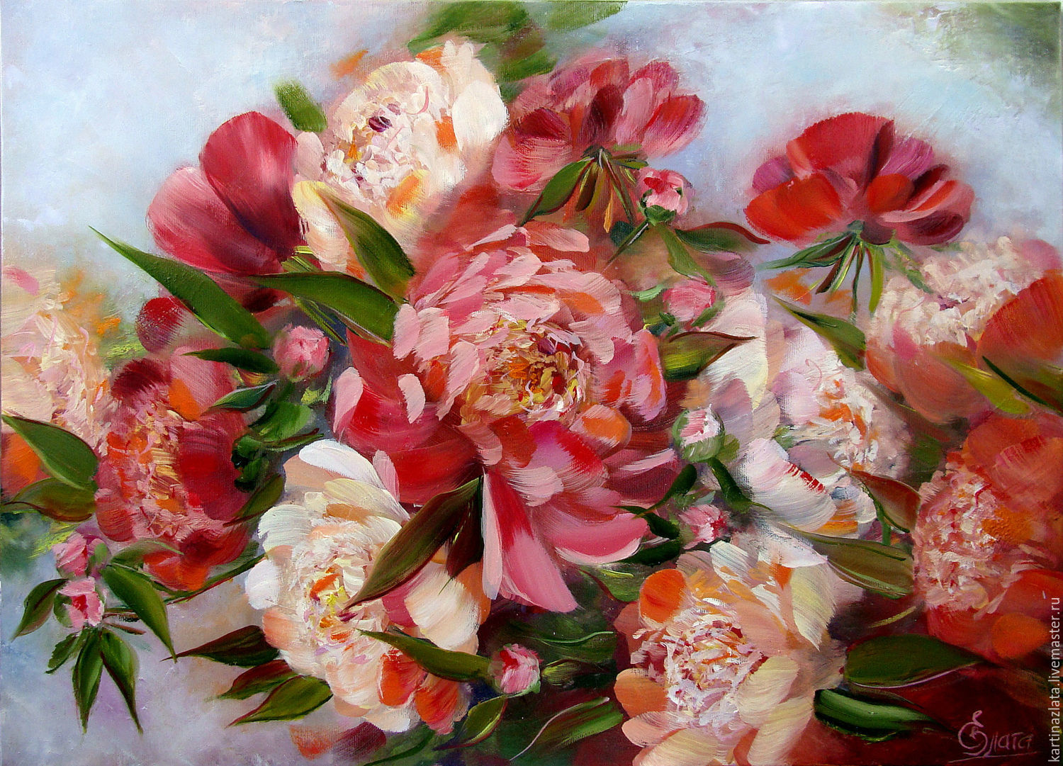Peonies. Large oil painting, Pictures, Azov,  Фото №1