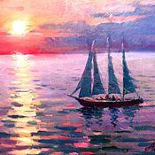 Картины и панно ручной работы. Ярмарка Мастеров - ручная работа Яхта с зелеными парусами. Handmade.