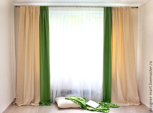 Текстиль, ковры ручной работы. Ярмарка Мастеров - ручная работа. Купить Шторы с салатовым кантом. Handmade. Ярко-зелёный, салатовый
