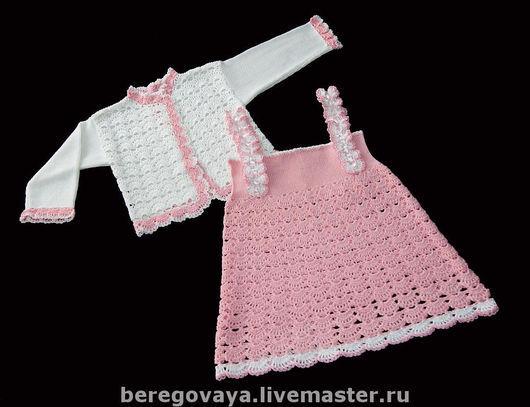Одежда для девочек, ручной работы. Ярмарка Мастеров - ручная работа. Купить Комплект для девочки. Handmade. Летний, САРАФАН ВЯЗАНЫЙ, кофточка