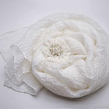 Аксессуары ручной работы. Ярмарка Мастеров - ручная работа Шарф белый шелковый большой из итальянского шифона. Handmade.