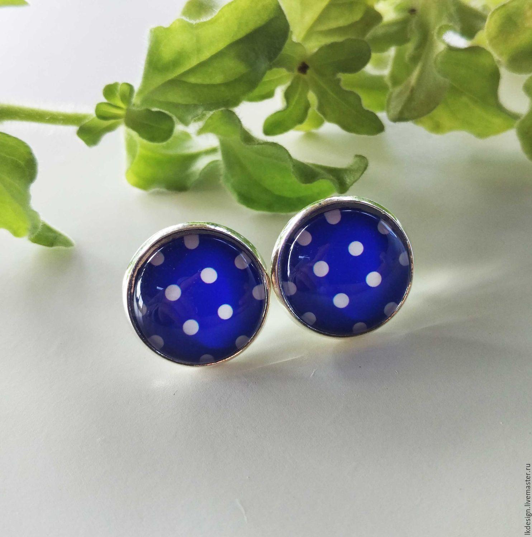 Earrings silver blue Pea, Earrings, Moscow,  Фото №1