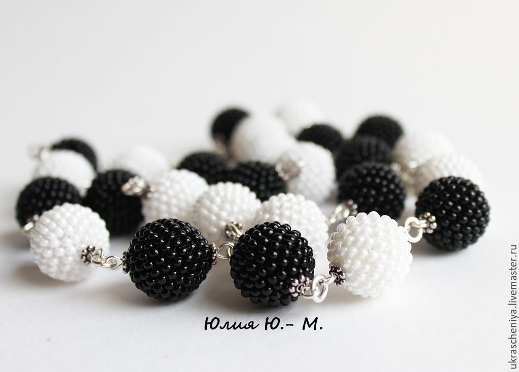 beads black and white, beads, beaded beads, Necklace, Ryazan, Фото №1