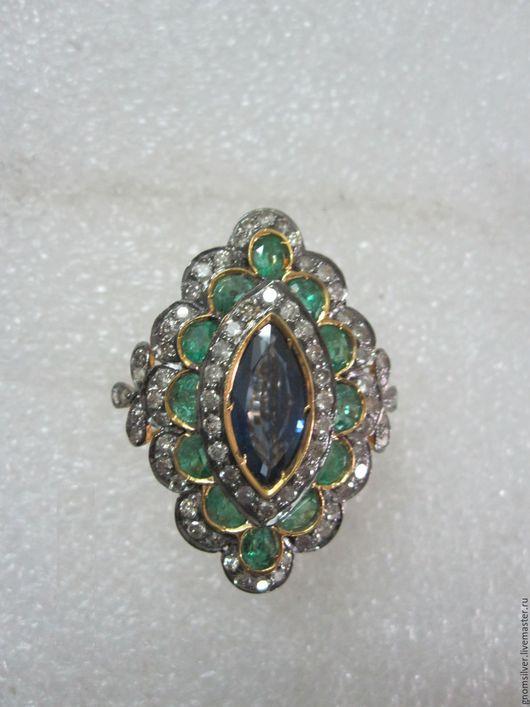 Кольца ручной работы. Ярмарка Мастеров - ручная работа. Купить Уникальное кольцо с изумрудами, сапфиром и бриллиантами. Handmade. бриллианты