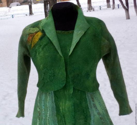 """Пиджаки, жакеты ручной работы. Ярмарка Мастеров - ручная работа. Купить Жакет  валяный  """" Натали -2"""". Handmade. Зеленый"""