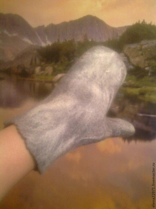 Варежки, митенки, перчатки ручной работы. Ярмарка Мастеров - ручная работа. Купить Валяные варежки. Handmade. Серый, валяние из шерсти