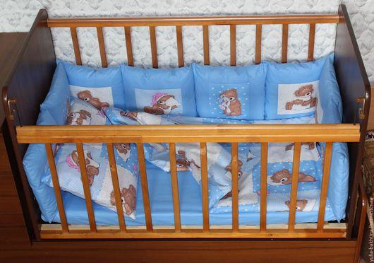 Детская ручной работы. Ярмарка Мастеров - ручная работа. Купить Детское постельное белье. Handmade. Голубой, детская комната