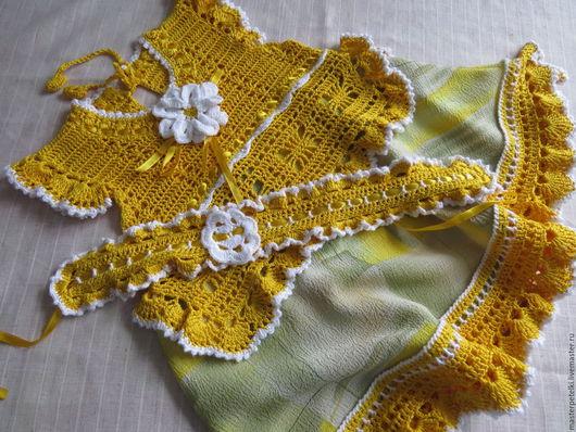 Одежда для девочек, ручной работы. Ярмарка Мастеров - ручная работа. Купить Платье вязаное Солнышко. Handmade. Желтый
