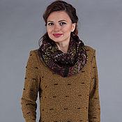 Одежда ручной работы. Ярмарка Мастеров - ручная работа Вязаное платье с жаккардовым снудом. Handmade.