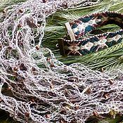 Русский стиль ручной работы. Ярмарка Мастеров - ручная работа Набор: льняное колье с крымскими травами и тканый браслет. Handmade.