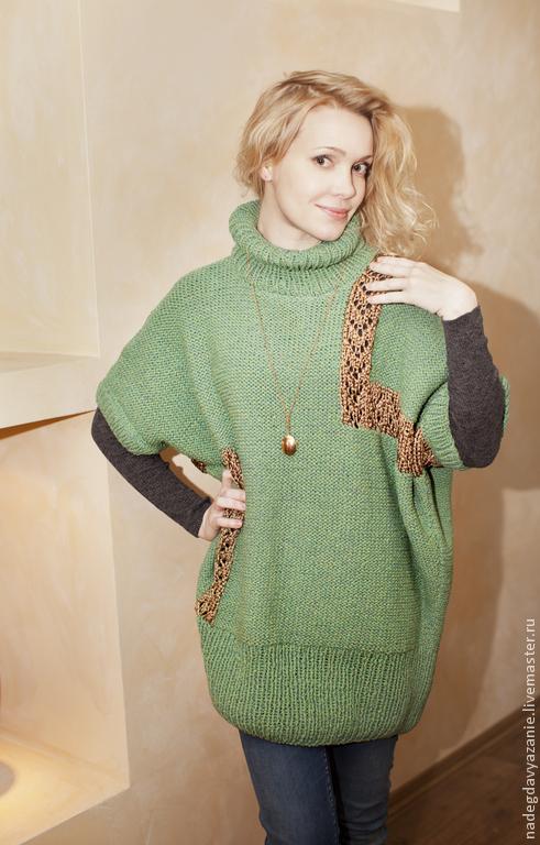 Кофты и свитера ручной работы. Ярмарка Мастеров - ручная работа. Купить свитер-туника в стиле оверсайз. Handmade. Зеленый