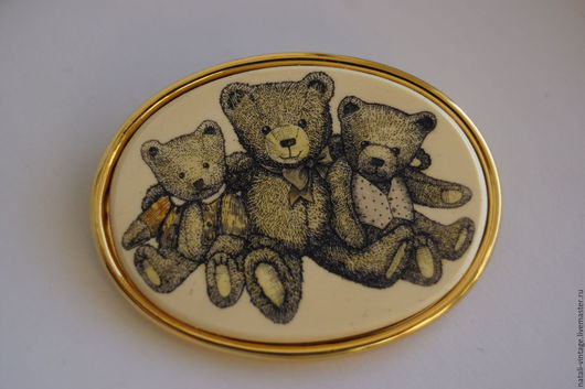 """Винтажные украшения. Ярмарка Мастеров - ручная работа. Купить Винтажная брошь """"Teddy"""", Barlow, редкая. Handmade. Бежевый, мишка"""