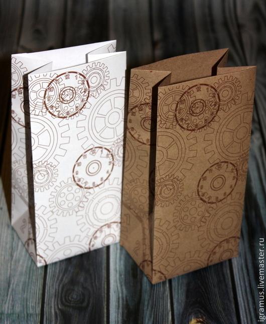 """Упаковка ручной работы. Ярмарка Мастеров - ручная работа. Купить Упаковочный пакет """"Часы-шестерёнки"""". Handmade. Коричневый, мужская упаковка"""
