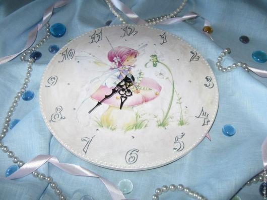 """Часы для дома ручной работы. Ярмарка Мастеров - ручная работа. Купить Часы детские """"Феечка"""". Handmade. Подарок ребенку, белый"""