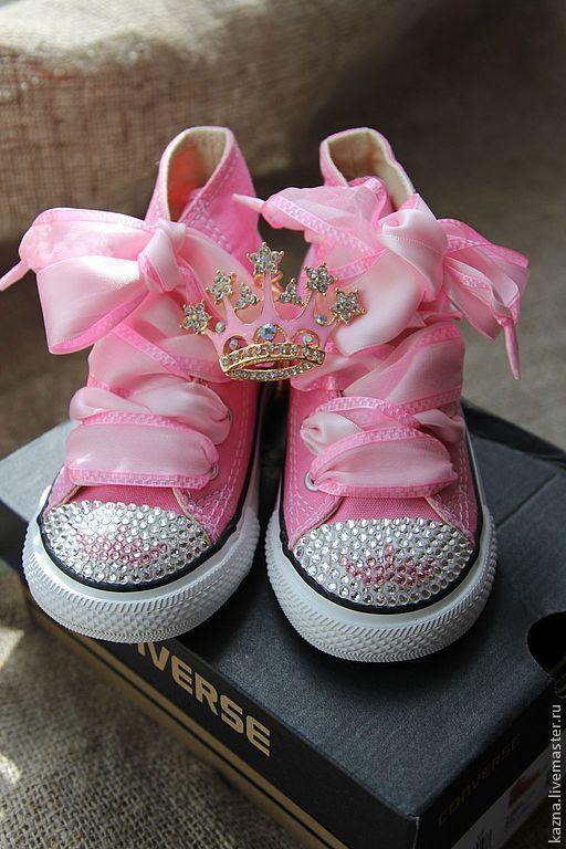 Детская обувь ручной работы. Ярмарка Мастеров - ручная работа. Купить Хрустальные башмачки для принцессы. Handmade. Розовый, органза, кеды