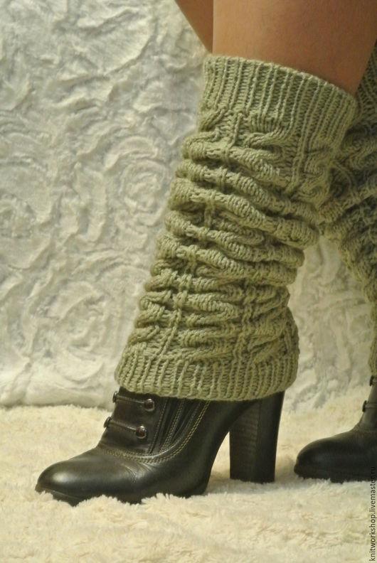 """Носки, Чулки ручной работы. Ярмарка Мастеров - ручная работа. Купить Длинные вязаные гетры """" Серый мох"""". Handmade."""