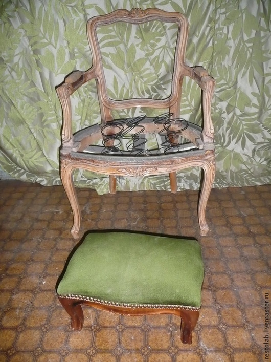Реставрация. Ярмарка Мастеров - ручная работа. Купить Реставрация красивого кресла и пуфика.. Handmade. Коричневый, покраска мебели, резьба по дереву