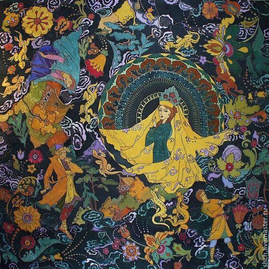 Платок Каменный цветок; 90*90 см 100% атласный шелк  Шёлковый Платок батик На заказ может быть выполнен в разных размерах. Цена батик платка зависит от выбранного размера.