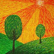 Картины ручной работы. Ярмарка Мастеров - ручная работа Два дерева на фоне оранжевого неба. Энергетическая картина. Handmade.