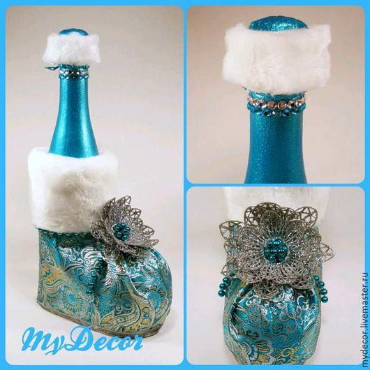 Декор бутылки к новому году