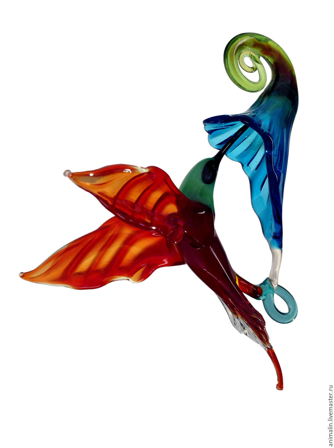 Interior hanging decoration stained glass bird Hummingbird Lill, Pendants for pots, Moscow,  Фото №1