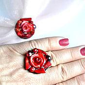Украшения handmade. Livemaster - original item Coral ring and brooch. Handmade.