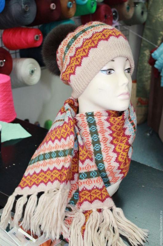 Шапки ручной работы. Ярмарка Мастеров - ручная работа. Купить шапка двойная с шарфом №9 вязаные. Handmade. Шапка вязаная