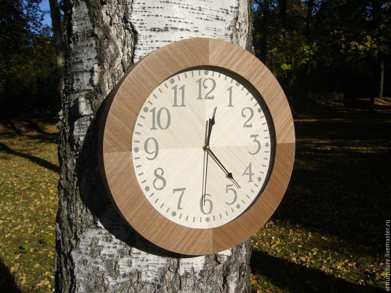 Настенные часы деревянные с серым циферблатом, Часы, Санкт-Петербург, Фото №1