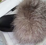 Обувь ручной работы handmade. Livemaster - original item From Fox Slippers /sandals /flip flops with fur. Handmade.