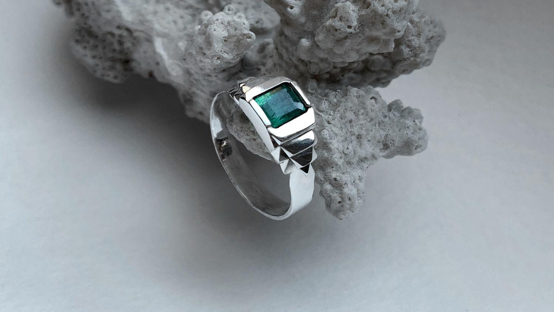 Мужское кольцо с Изумрудом 1,69ct, серебряное кольцо ручной работы, Кольца, Москва,  Фото №1