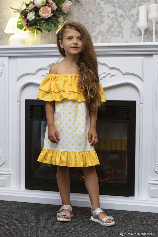 """Одежда для девочек, ручной работы. Ярмарка Мастеров - ручная работа. Купить Детское платье для девочки с воланом из хлопка """"Цыпа"""". Handmade."""
