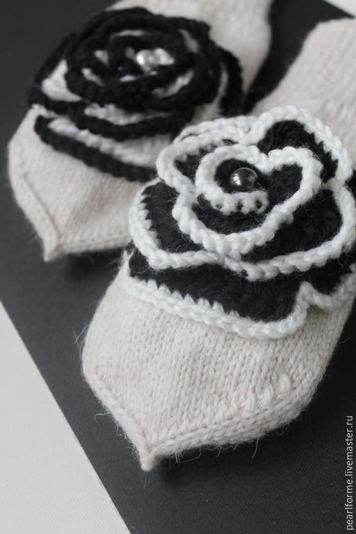 Варежки, митенки, перчатки ручной работы. Ярмарка Мастеров - ручная работа. Купить Варежки black & white. Handmade. Белый