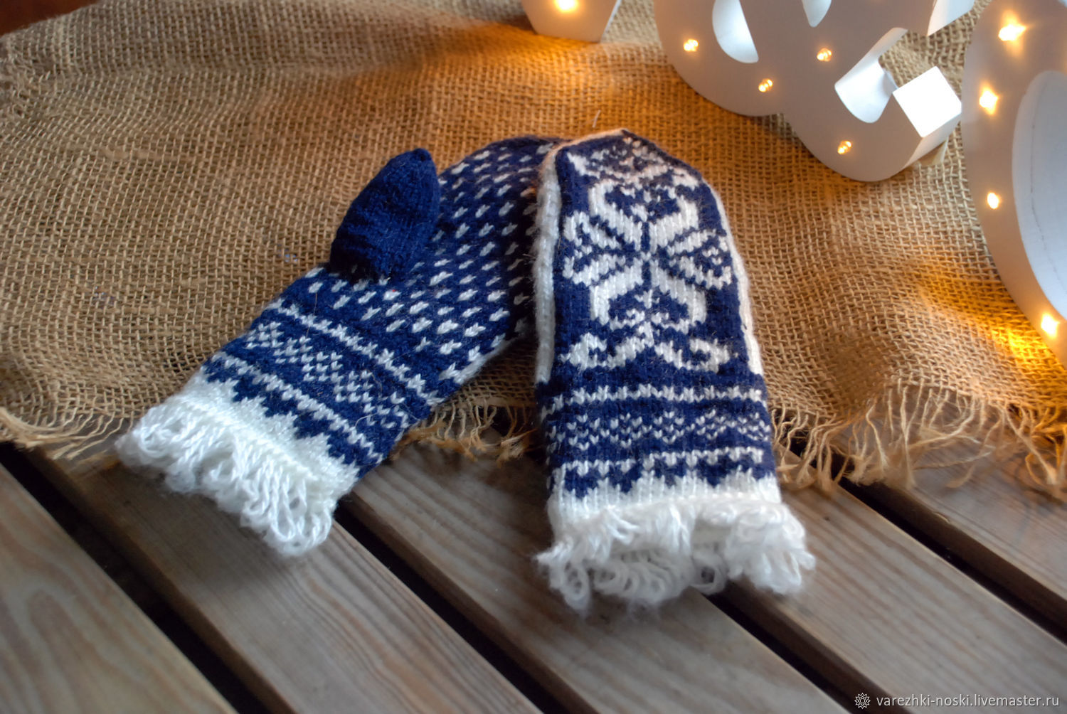 Women's mittens with ornament and fringe blue and white, Mittens, Moscow,  Фото №1