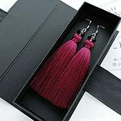 Украшения handmade. Livemaster - original item Dark red earrings tassels handmade. Handmade.