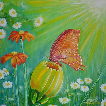 Картины и панно ручной работы. Ярмарка Мастеров - ручная работа Картины: картина маслом Бабочка. Handmade.