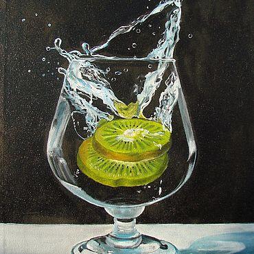 """Картины и панно ручной работы. Ярмарка Мастеров - ручная работа Картина с фруктами """"Киви в бокале"""" - картина маслом. Handmade."""