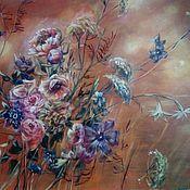 Картины и панно ручной работы. Ярмарка Мастеров - ручная работа Цветочная композиция на красном. Handmade.