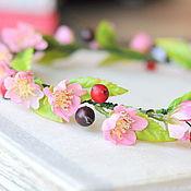 """Украшения ручной работы. Ярмарка Мастеров - ручная работа Ободок с цветами """"Цветы вишнего дерева"""", венок, венок на глову. Handmade."""