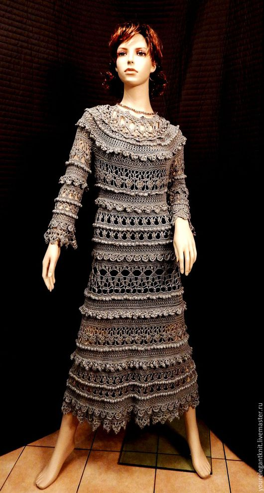 Платья ручной работы. Ярмарка Мастеров - ручная работа. Купить Silver Ounce - шелковое платье крючком.. Handmade. Серый