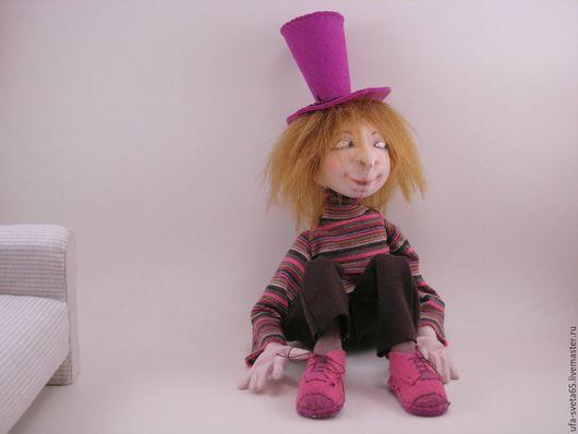 Коллекционные куклы ручной работы. Ярмарка Мастеров - ручная работа. Купить Фредик. Handmade. Брусничный, крафт-велюр