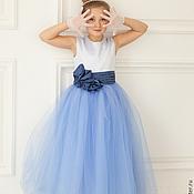 Работы для детей, ручной работы. Ярмарка Мастеров - ручная работа готовимся к НГ!!! голубое атласное платье в пол с огромной юбкой в пол. Handmade.