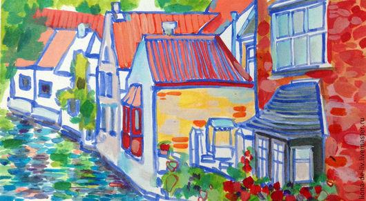 Город ручной работы. Ярмарка Мастеров - ручная работа. Купить Красная улица. Handmade. Ярко-красный, акрил, акриловые краски