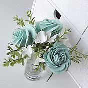 Цветы и флористика handmade. Livemaster - original item Mint Rose and Stephanotis boutonniere. Miniature of flowers.. Handmade.
