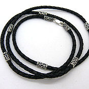 Украшения handmade. Livemaster - original item Choker, cord leather silver or gold plated 3,5 mm view 18. Handmade.