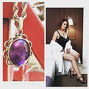 Винтаж handmade. Livemaster - original item Amethyst splendor. pendant on a chain. Amethyst.. Handmade.
