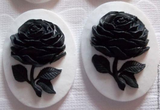 Для украшений ручной работы. Ярмарка Мастеров - ручная работа. Купить Камея Черная роза на белом 30х40мм (пластик) 1шт.. Handmade.