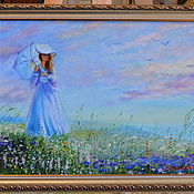 """Картины и панно ручной работы. Ярмарка Мастеров - ручная работа """"Дама с зонтиком"""" реплика. Handmade."""