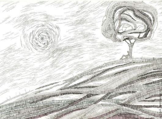 Пейзаж ручной работы. Ярмарка Мастеров - ручная работа. Купить рисунок тушью На высоком холме. Handmade. Белый